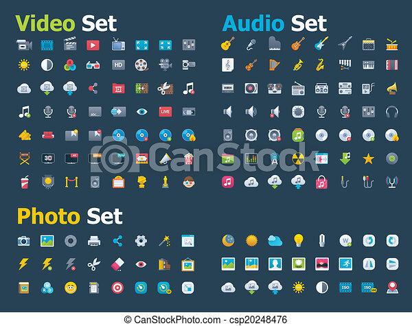 Photo, video and audio icon set - csp20248476
