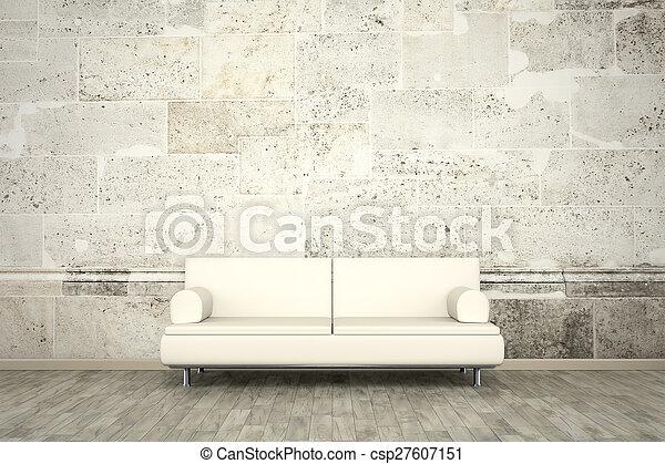photo wall mural stone wall sofa floor - csp27607151