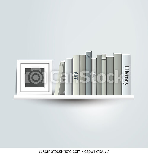Photoframe Mock Up On The Bookshelf Template For Poster Picture Painting Vector