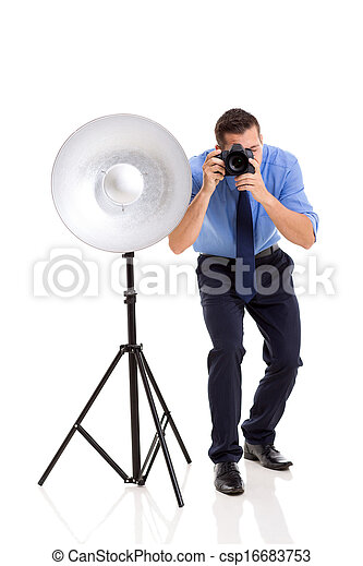 photograph- studio, junger, arbeitende  - csp16683753