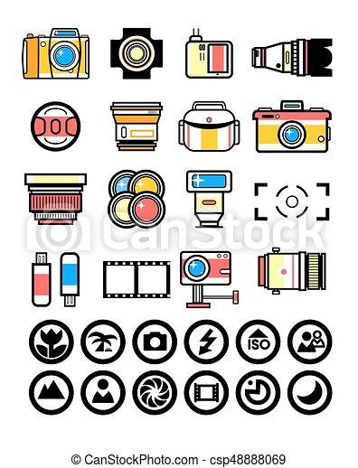 photographe, appareil photo, kit, éléments - csp48888069