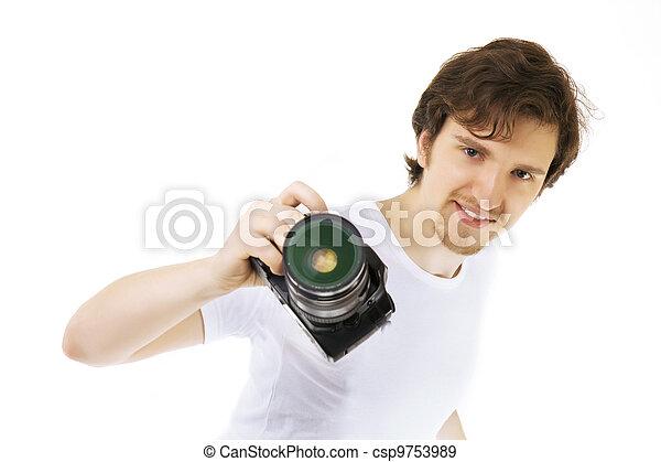photographe, fond blanc - csp9753989