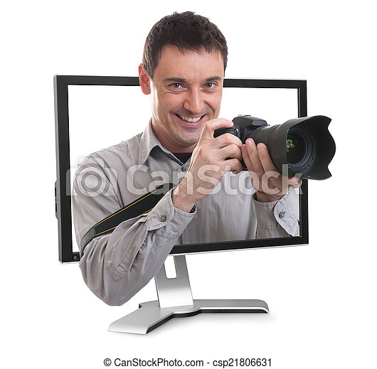 photographe, moniteur ordinateur - csp21806631