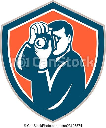 photographe, viser, appareil photo, bouclier, retro - csp23198574