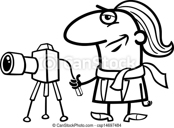 photographer cartoon coloring page - csp14697484