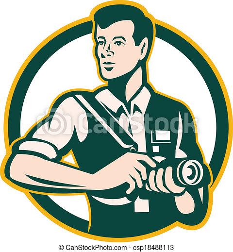 photographer holding dslr camera retro illustration of a Cartoon Camera Clip Art phone camera flash clipart