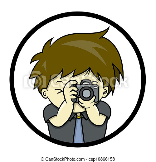 photographer is taking a picture with slr isolated on circle rh canstockphoto com