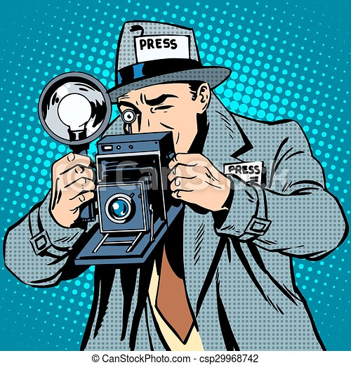 Photographer paparazzi at work press media camera pop art for Paparazzi clipart