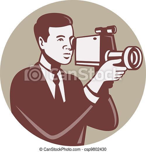 Photographer Shooting Video Camera Retro - csp9802430