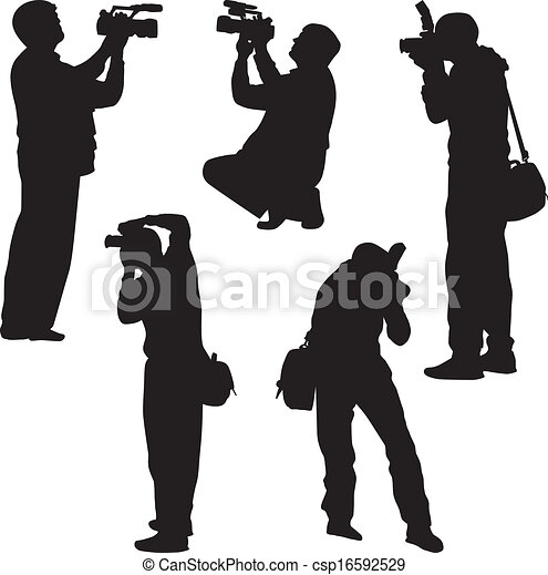 photographer silhouette vector four photographer stay and