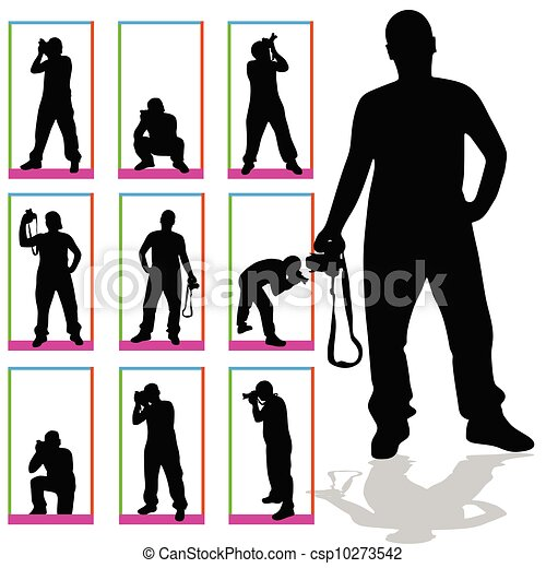 photographer silhouette vector in box art on white eps vector rh canstockphoto ca
