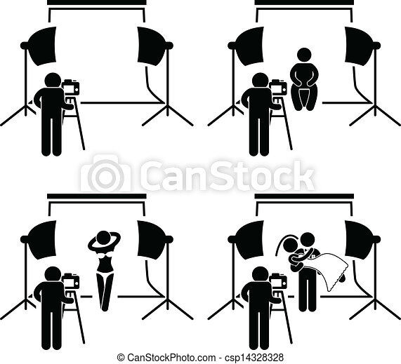 This Is A Set Of People Pictograms That Represent Photographer Taking Pictures Man Female Model And Wedding Couple In Studio