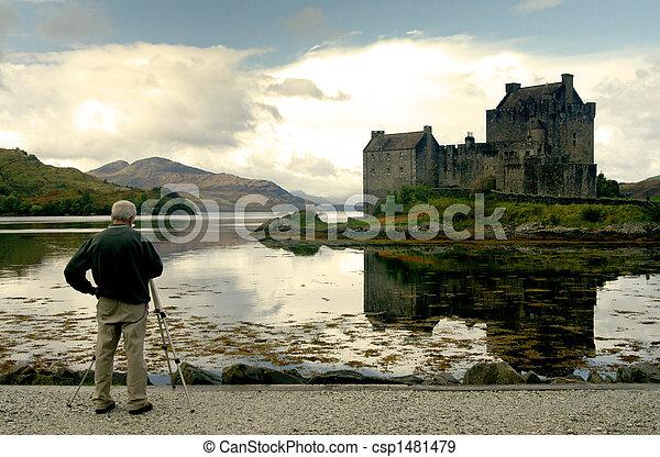 Photographer taking landscape shot - csp1481479