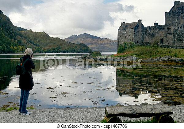 Photographer taking scenic picture - csp1467706