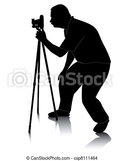 photographer with Cameras with tripod - csp8111464