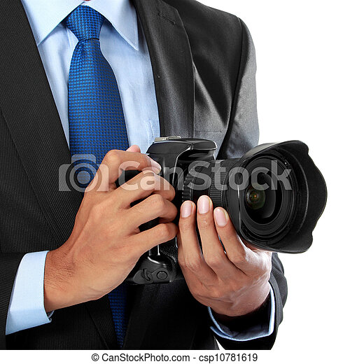 photographer with dslr camera - csp10781619