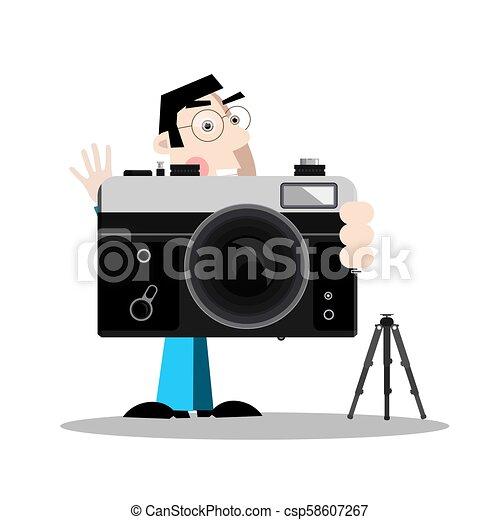 Photographer with Retro Camera - csp58607267