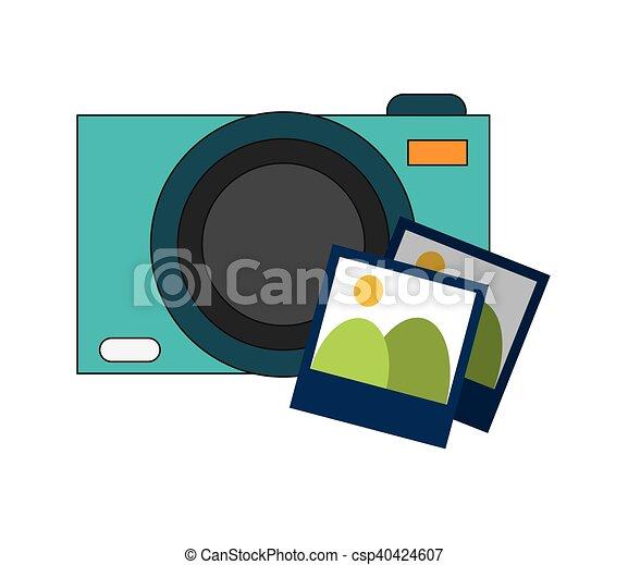 photographic camera and photos  icon - csp40424607