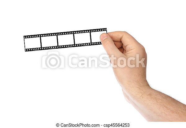 Photographic film in hands - csp45564253