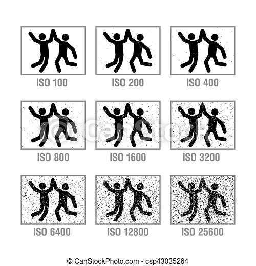 Photography cheat sheet in icons, ISO - csp43035284