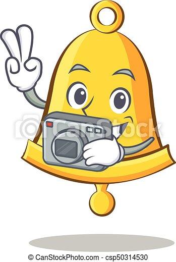 Photography school bell character cartoon - csp50314530