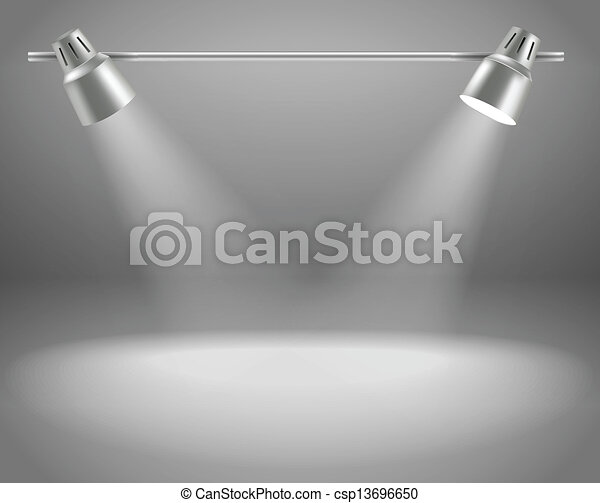 Photorealistic bright stage with projectors. Presentation vector template for a content - csp13696650