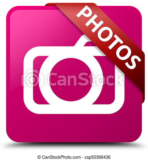 Photos (camera icon) pink square button red ribbon in corner - csp50366436