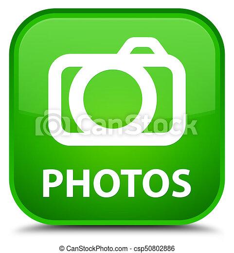Photos (camera icon) special green square button - csp50802886