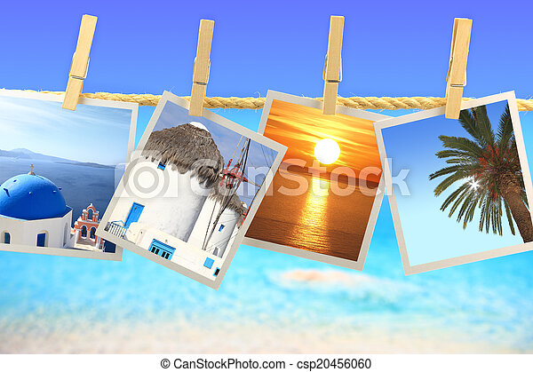 Photos of Greece hanging on a rope in front of the sea - csp20456060