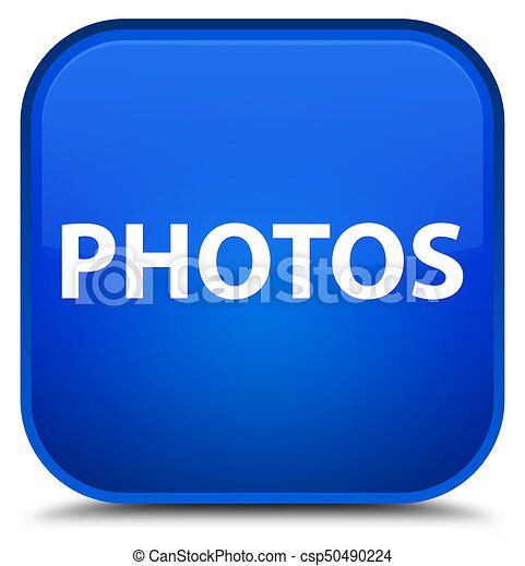 Photos special blue square button - csp50490224