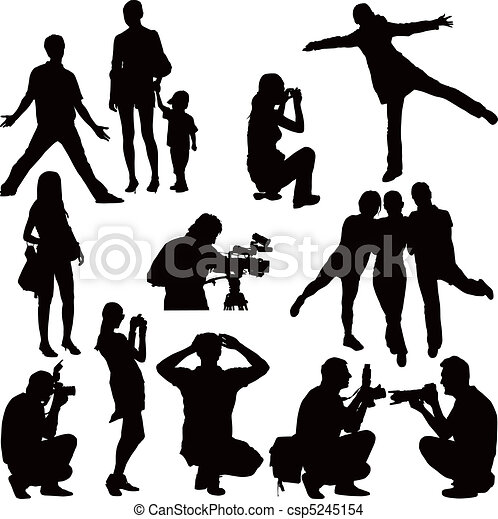 photoshooting and posing fifteen vector black silhouettes