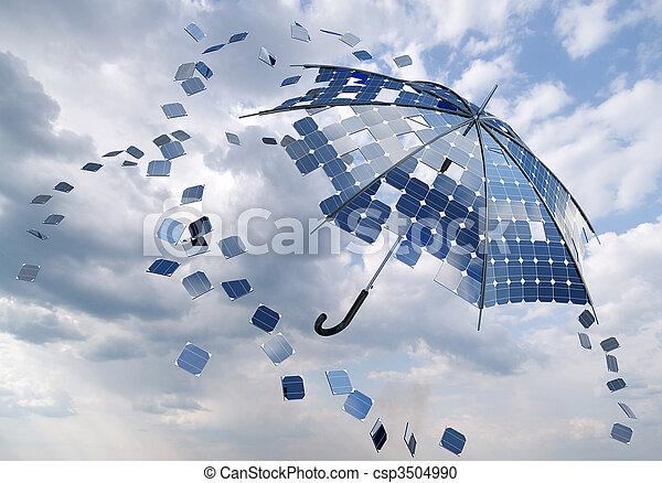 photovoltaïque, concept, parapluie, crosse, solaire, ouvert - csp3504990