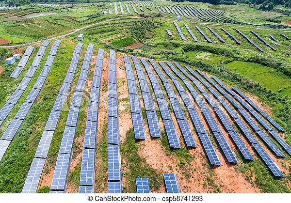 photovoltaic panels on hillside - csp58741293