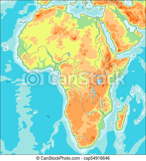 Physical africa map. Highly detailed physical map of the african ...