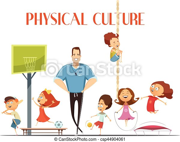physical culture lesson retro cartoon illustration primary clip rh canstockphoto com lds clipart primary songs clipart primary school
