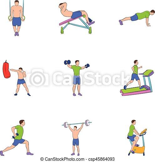 Physical exercises icons set, cartoon style - csp45864093