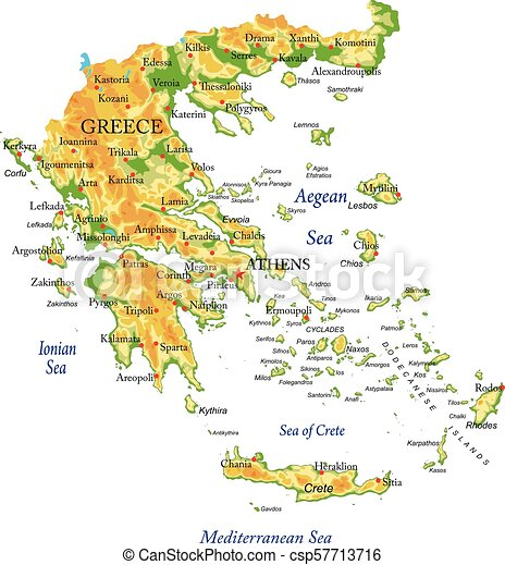 Highly detailed physical map of greecein vector formatwith