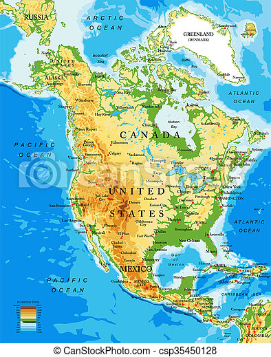 Map Of North America And Canada With Cities.Physical Map Of North America