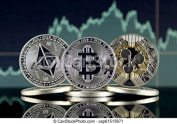 Physical version of Ethereum (ETH), Bitcoin (BTC) and Ripple (XRP). The Top 3 Cryptocurrencies by Market Cap. - csp61515971