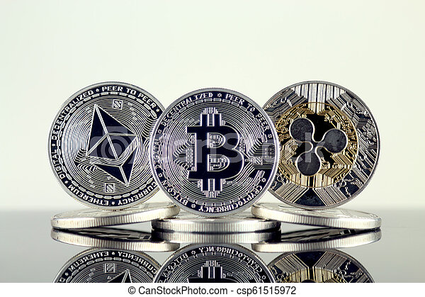 Physical version of Ethereum (ETH), Bitcoin (BTC) and Ripple (XRP). The Top 3 Cryptocurrencies by Market Cap. - csp61515972
