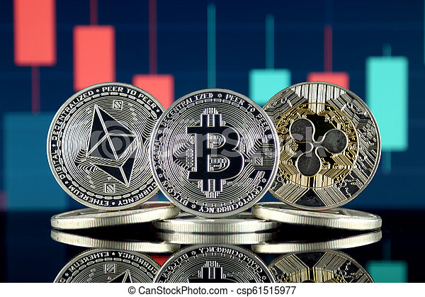 Physical version of Ethereum (ETH), Bitcoin (BTC) and Ripple (XRP). The Top 3 Cryptocurrencies by Market Cap. - csp61515977