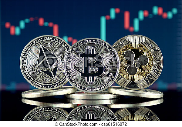 Physical version of Ethereum (ETH), Bitcoin (BTC) and Ripple (XRP). The Top 3 Cryptocurrencies by Market Cap. - csp61516072