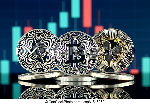 Physical version of Ethereum (ETH), Bitcoin (BTC) and Ripple (XRP). The Top 3 Cryptocurrencies by Market Cap. - csp61515980