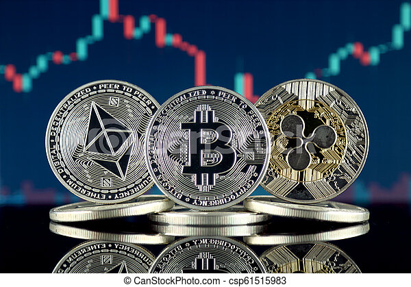 Physical version of Ethereum (ETH), Bitcoin (BTC) and Ripple (XRP). The Top 3 Cryptocurrencies by Market Cap. - csp61515983