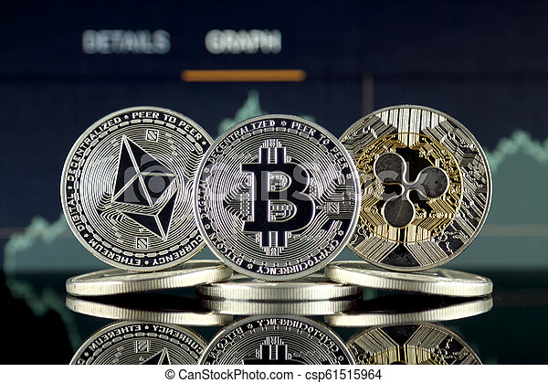 Physical version of Ethereum (ETH), Bitcoin (BTC) and Ripple (XRP). The Top 3 Cryptocurrencies by Market Cap. - csp61515964