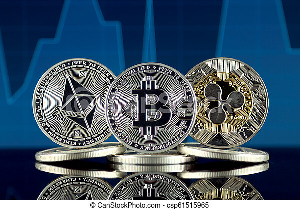 Physical version of Ethereum (ETH), Bitcoin (BTC) and Ripple (XRP). The Top 3 Cryptocurrencies by Market Cap. - csp61515965