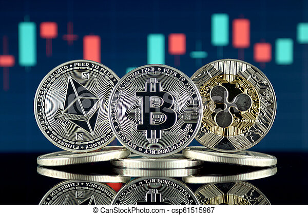 Physical version of Ethereum (ETH), Bitcoin (BTC) and Ripple (XRP). The Top 3 Cryptocurrencies by Market Cap. - csp61515967