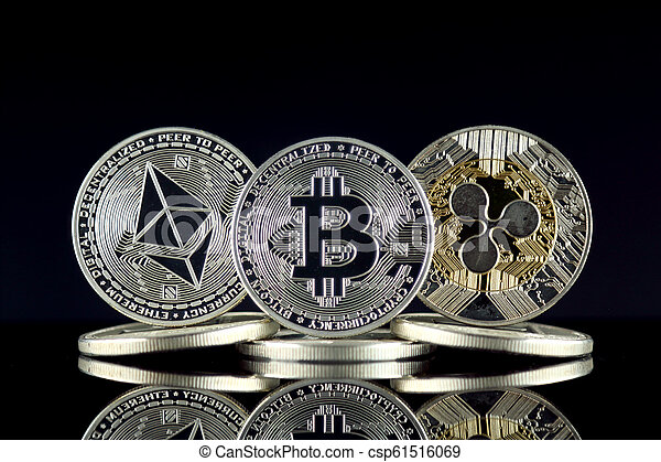 Physical version of Ethereum (ETH), Bitcoin (BTC) and Ripple (XRP). The Top 3 Cryptocurrencies by Market Cap. - csp61516069