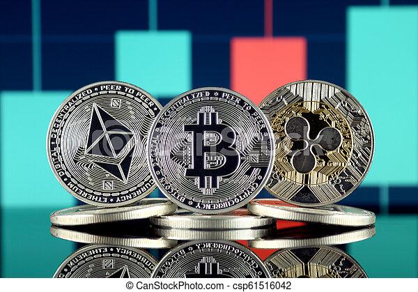 Physical version of Ethereum (ETH), Bitcoin (BTC) and Ripple (XRP). The Top 3 Cryptocurrencies by Market Cap. - csp61516042