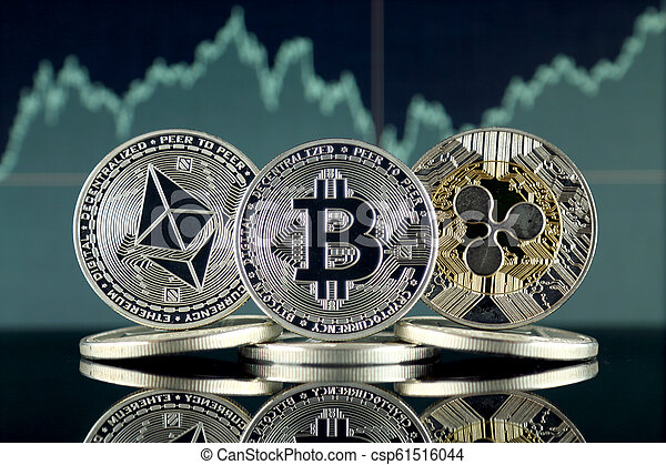 Physical version of Ethereum (ETH), Bitcoin (BTC) and Ripple (XRP). The Top 3 Cryptocurrencies by Market Cap. - csp61516044